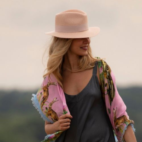 Straw Fedora Summer Hat - Pink